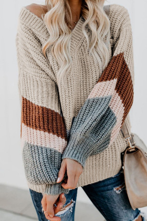 Casual Striped V-neck Sweater
