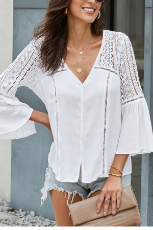 Casual V-Neck Hollow Blouse
