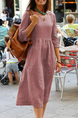 Casual V-neck Maxi Dress