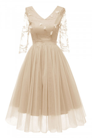 V-neck Applique Tulle Dress