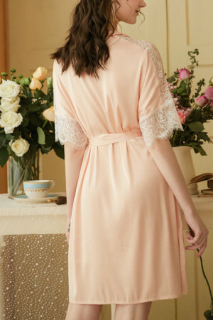 Champagne Lace Panel Robe