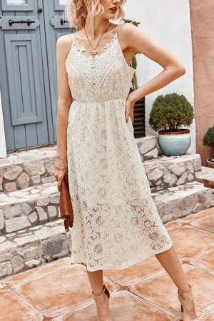 Chic Lace Sleeveless Midi Dress