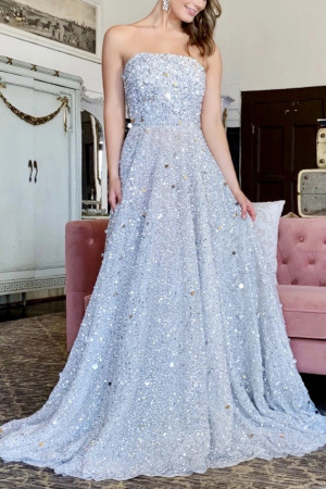 Chic Sparkly Silver Strapless Backless A-line Ball Gown Prom Dress (1)