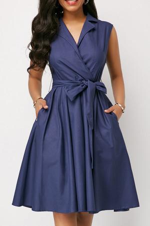 Collar Solid Wrap Dress