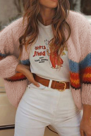 Color Block Loose Cardigan