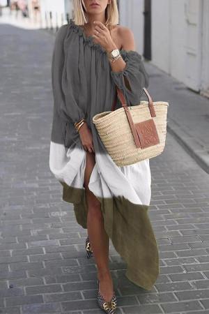 Color Block Off-the-shoulder Casual Dress