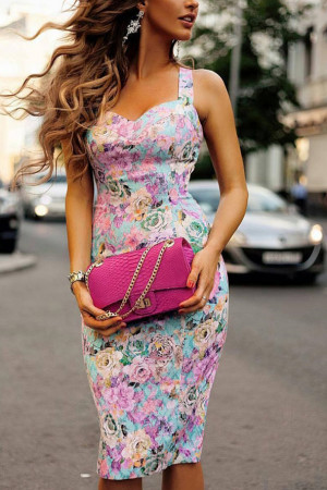 Colorful Floral Print Dress