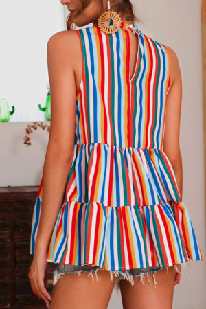 Colorful Striped Sleeveless Blouse