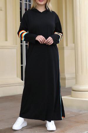 Contrast Striped Side Hooded Dress
