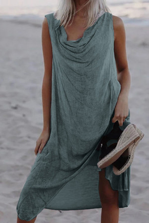Cowl Solid Sleeveless Tunic Dress