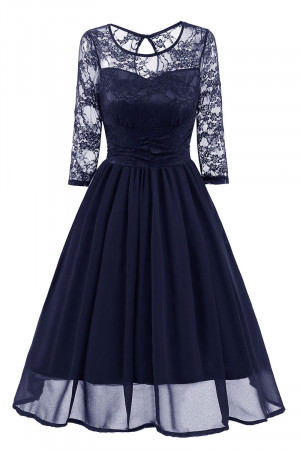 Lace Cut Out Chiffon Dress