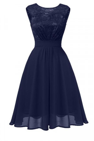 Sleeveless Lace Homecoming Dress