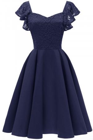 Cap Sleeves Satin Homecoming Dress