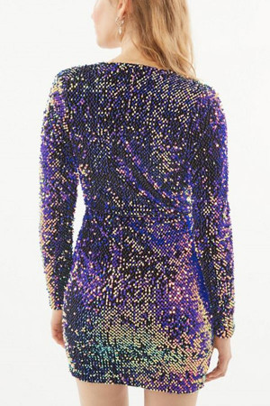 Deep V-neck Sequins Dress