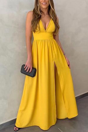 Deep V-Neck Sleeveless Dress