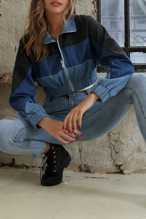 Denim Mock Neck Jacket
