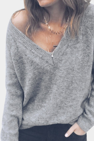 Double V-neck Knit Sweater