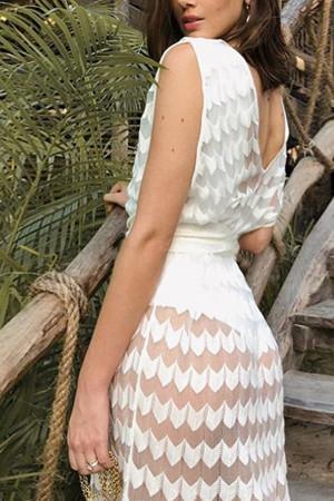 Duble V-Neck See-thru Dress
