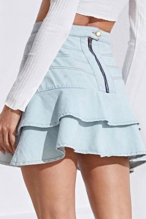 Elastic Waist Ruffle Mini Skirt