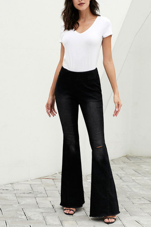 Elastic Waist Flared Jeans