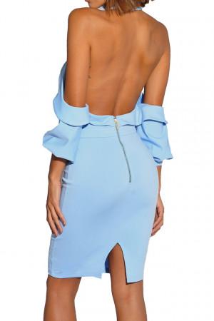 Elastic Zip Back Halter Dress