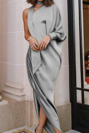 Elegant One-shoulder Side Slit Dress
