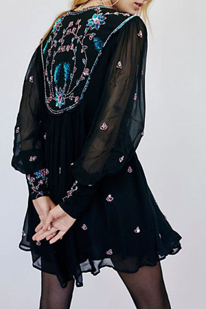 Embroidered Cutout Chiffon Dress