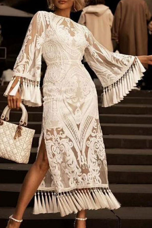 Embroidered Lined Tassel Dress