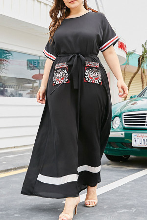 Embroidered Pockets Loose Dress