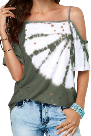 Fashion Cut Out Print Blouse