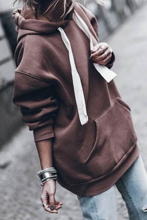 Fleece Lined Drawstring Hoodie