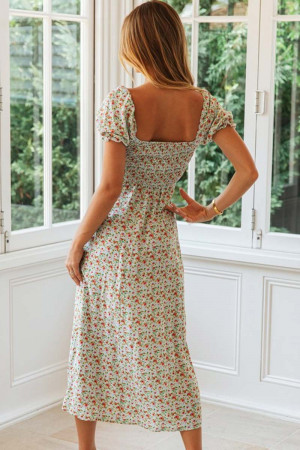 Floral Buttoned Slit Vacation Dress