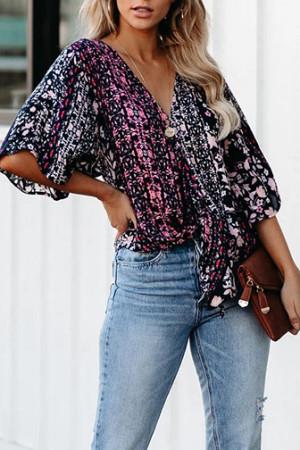 Floral Color-block Blouse