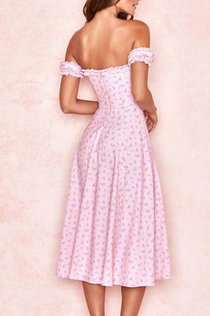 Floral Ruffle Trim Slit Dress