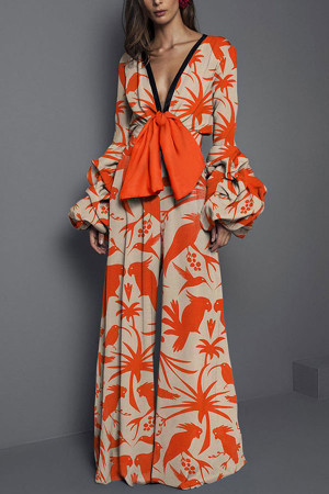 Floral Trumpet Sleeves Jumpsuit