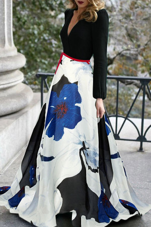 Floral V-neck Long Dress