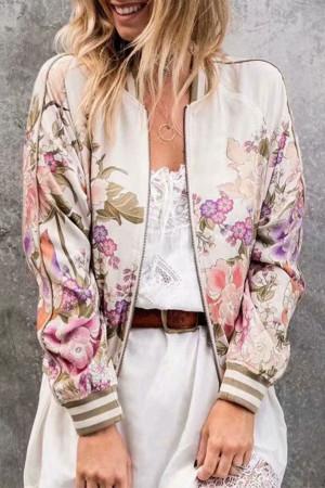 Floral Zip Up Baseball Jacket