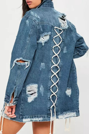 Fraged Buttoned Denim Coat