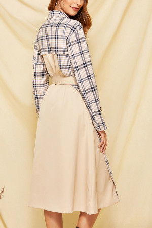 Gingham Belted Trench Coat
