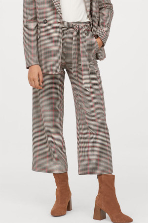 Gingham Tie Front Pants