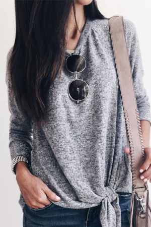 Gray Knotted Casual T-shirt