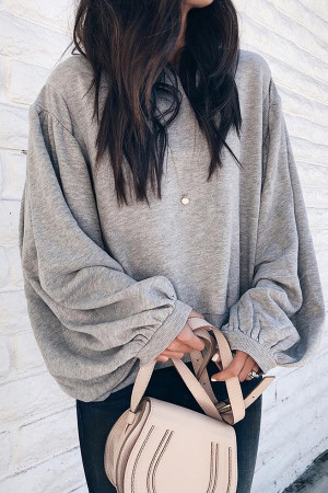 Gray Lantern Sleeve Sweatshirt