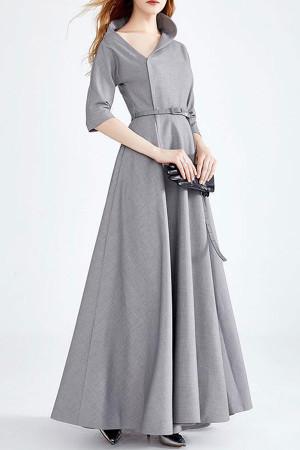 Gray Off Shoulder Work Dress