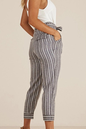 Gray Striped Capri Pants