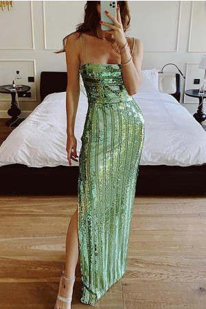 Green Sequin Slit Prom Dress