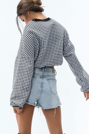 Grid Scoop Crop Sweatshirt