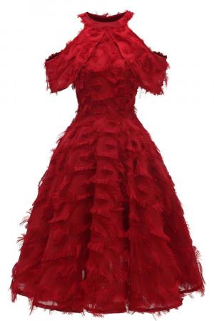 Halter Off Shoulder Tasseled Dress
