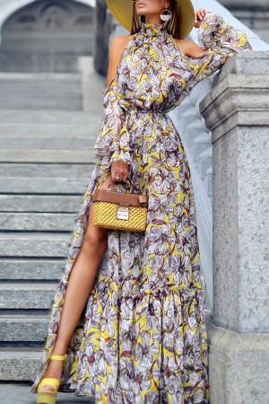 Halter Slit Printed Dress