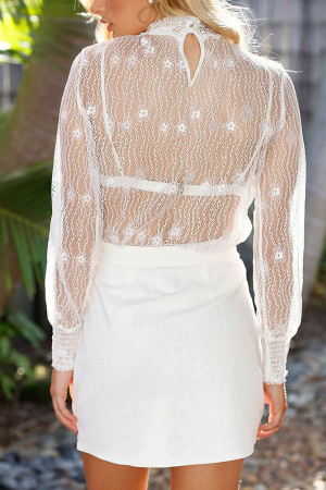 High-Neck See-through Lace Top