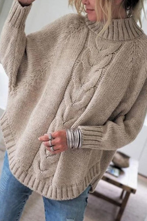 High Collar Pullover Knit Sweater